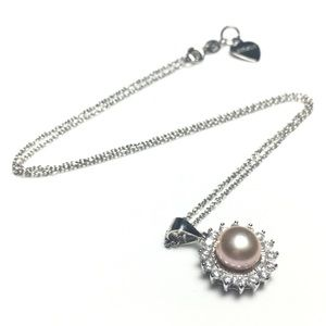 925 Silver Pendant Pink Pearl CZ Crystal Necklac